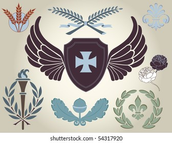 Crest and heraldry, design elements