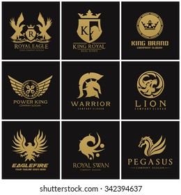 Crest logo collection, Set of Automotive,  , Eagle, warrior, Pegasus, lion , king and royal, crown symbol with Gold and luxury style vector template