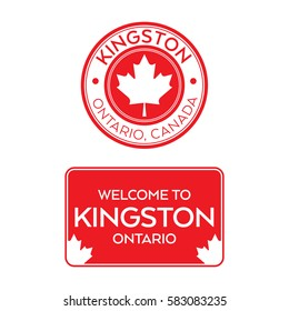 A crest and a welcome sign for Kingston, Ontario, Canada that features maple leaves.