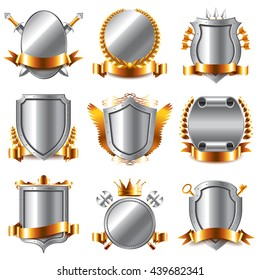 Crests and coat of arms icons detailed photo realistic vector set
