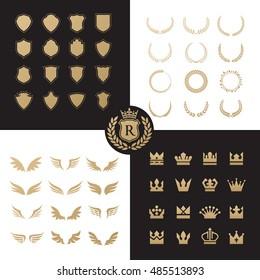 Crests logo element set. Heraldic, shield  laurel wreaths vector