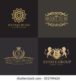 Crests logo set, King lion, Flourishes Calligraphic Monogram design for hotel,Spa,Restaurant, Fashion and Premium brand identity.