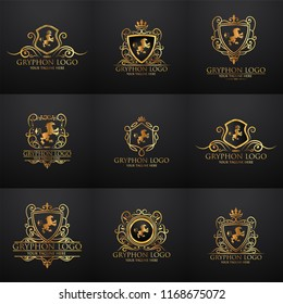 Crests logo set. Vector heraldry royal symbols with gryphons