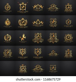 Crests logo set. Vector heraldry royal symbols with gryphons