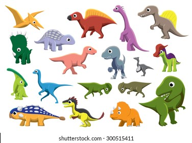Cretaceous Dinosaurs Cartoon Vector Illustration