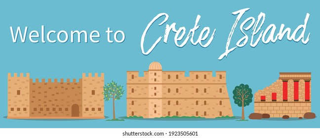 Crete island invitation card vector illustration. Traditional ancient historical buildings. Medieval fortress with towers and walls. Dilapidated castle with columns. Divine constructions made of stone