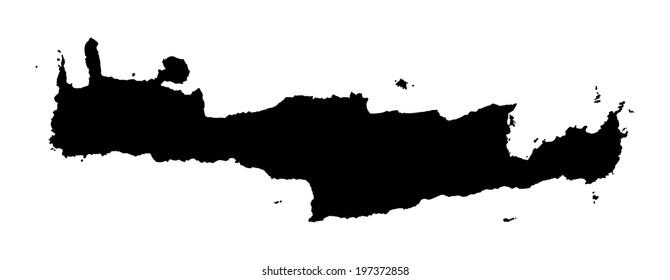 Crete vector map high detailed isolated. Black illustration on white background. Mediterranean island.