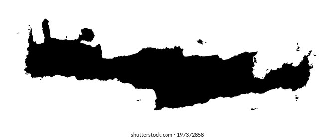 Crete vector map silhouette high detailed isolated. Black illustration on white background. Mediterranean island. Crete map silhouette. Greek island.