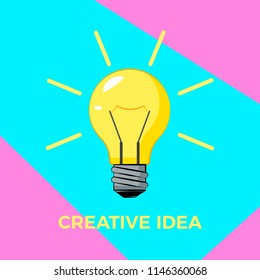 Cretive idea cartoon bulb with rays. Bisiness solution concept. Burning light bulb with surreal color background. Vector illustration