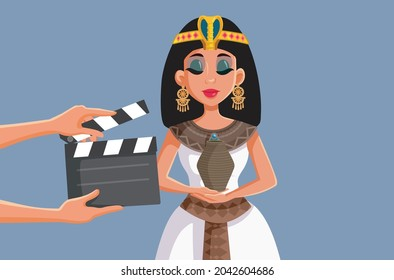 Crew Filming a Cleopatra Artistic Movie Vector Cartoon. Beautiful female protagonist starring in biopic historical drama