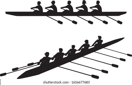 Crew Rowing Teams Sports Silhouettes Vector