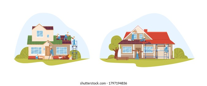 Crew of workers in uniform during repair of private houses set vector flat illustration. Team of repairmen decorate facade, cover roof, upgrade wall color isolated. Exterior building renovation
