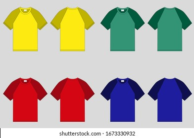 Crew-neck raglan t-shirt. Clothing for women and men. Set of colored unisex short sleeve t-shirts. Rear and front view. Basic clothes in casual style. Vector illustration.