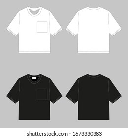 Crew-neck t-shirt. Clothing for women and men. Set of colored unisex short sleeve t-shirts. Rear and front view. Basic clothes in casual style. Vector illustration.