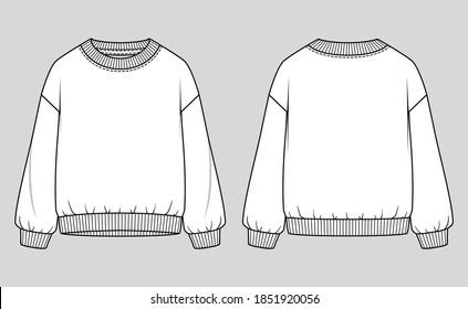 Crew-neck women oversized sweatshirt. Vector technical sketch. Mockup template.
