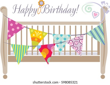 Crib with bright festive flags. Design for greeting card. Vector