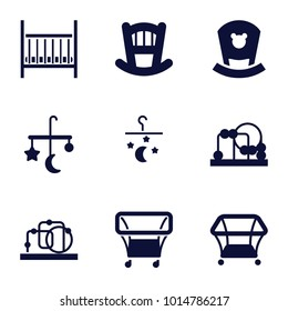 Crib icons. set of 9 editable filled crib icons such as baby bed, bed mobile, baby toy
