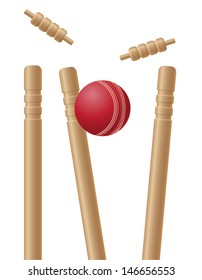 cricet wickets and ball vector illustration isolated on white background