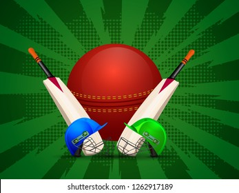 Cricket attire with ball and bats on green halftone rays background for Live cricket tournament concept.
