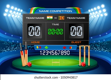 Cricket background with scoreboard. Hitting recreation equipment. Vector wallpaper design.