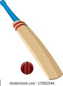 cricket ball and bat vector