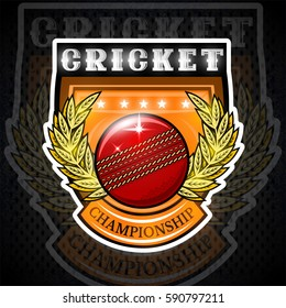 Cricket ball in center of golden wreath on the shield. Sport logo for any team or championship