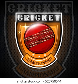 Cricket ball in center of shield. Sport logo for any team or championship