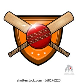 Cricket ball with crossed bat in center of shield isolated on white. Sport logo for any team or championship