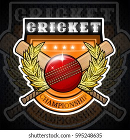 Cricket ball with crossed club in center of golden wreath on the shield. Sport logo for any team or championship