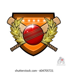 Cricket ball with crossed clubs in center of golden wreath on the shield. Sport logo for any team or championship on white
