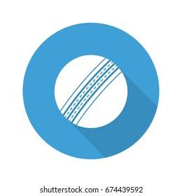 Cricket ball flat design long shadow glyph icon. Vector silhouette illustration