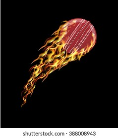 Cricket ball flying in fire