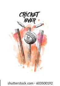 Cricket ball hitting bowling over wicket freehand sketch graphic design, vector illustration