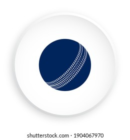 cricket ball icon in neomorphism style for mobile app. Sport equipment. Button for mobile application or web. Vector on white background