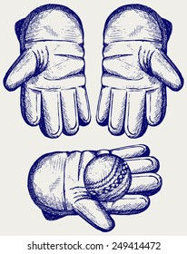 Cricket ball in a wicket keeping glove. Doodle style