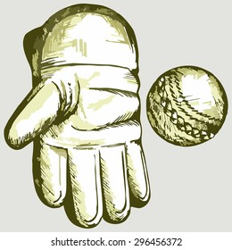 Cricket ball in a wicket keeping glove. Vector Image
