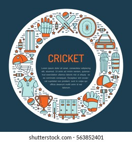 Cricket banner with line icons of ball, bat, field, wicket, helmet, apparel and other equipment. Vector circle illustration for sport championship poster