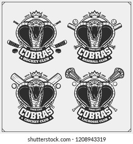 Cricket, baseball, lacrosse and hockey logos and labels. Sport club emblems with king cobra.