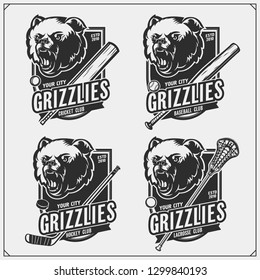 Cricket, baseball, lacrosse and hockey logos and labels. Sport club emblems with grizzly bear. Print design for t-shirts.
