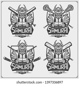 Cricket, baseball, lacrosse and hockey logos and labels. Sport club emblems with samurai. Print design for t-shirt.