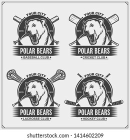 Cricket, baseball, lacrosse and hockey logos and labels. Sport club emblems with polar bear. Print design for t-shirts.