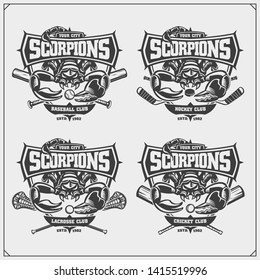 Cricket, baseball, lacrosse and hockey logos and labels. Sport club emblems with scorpion. Print design for t-shirt.