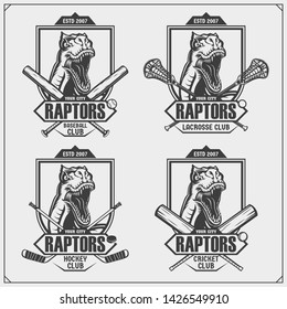 Cricket, baseball, lacrosse and hockey logos and labels. Sport club emblems with raptor dinosaur. Print design for t-shirt.