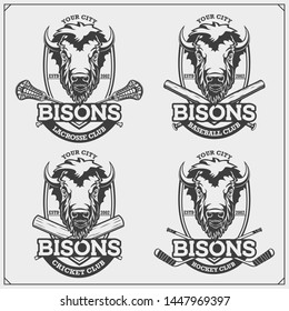 Cricket, baseball, lacrosse and hockey logos and labels. Sport club emblems with bison. Print design for t-shirts.