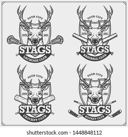 Cricket, baseball, lacrosse and hockey logos and labels. Sport club emblems with deer or stag. Print design for t-shirts.