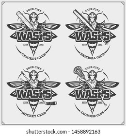 Cricket, baseball, lacrosse and hockey logos and labels. Sport club emblems with wasp. Print design for t-shirt.