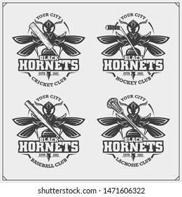 Cricket, baseball, lacrosse and hockey logos and labels. Sport club emblems with hornet. Print design for t-shirt.