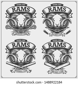 Cricket, baseball, lacrosse and hockey logos and labels. Sport club emblems with rams. Print design for t-shirt.