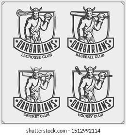 Cricket, baseball, lacrosse and hockey logos and labels. Sport club emblems with barbarian. Print design for t-shirt.