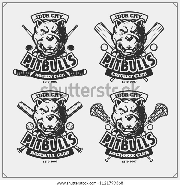 Cricket, baseball, lacrosse and hockey logos and labels. Sport club emblems with pitbull.